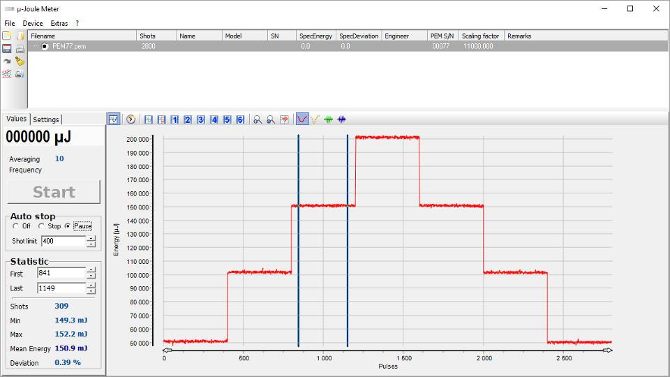 µ‑Joule Meter Software Benutzeroberfläche